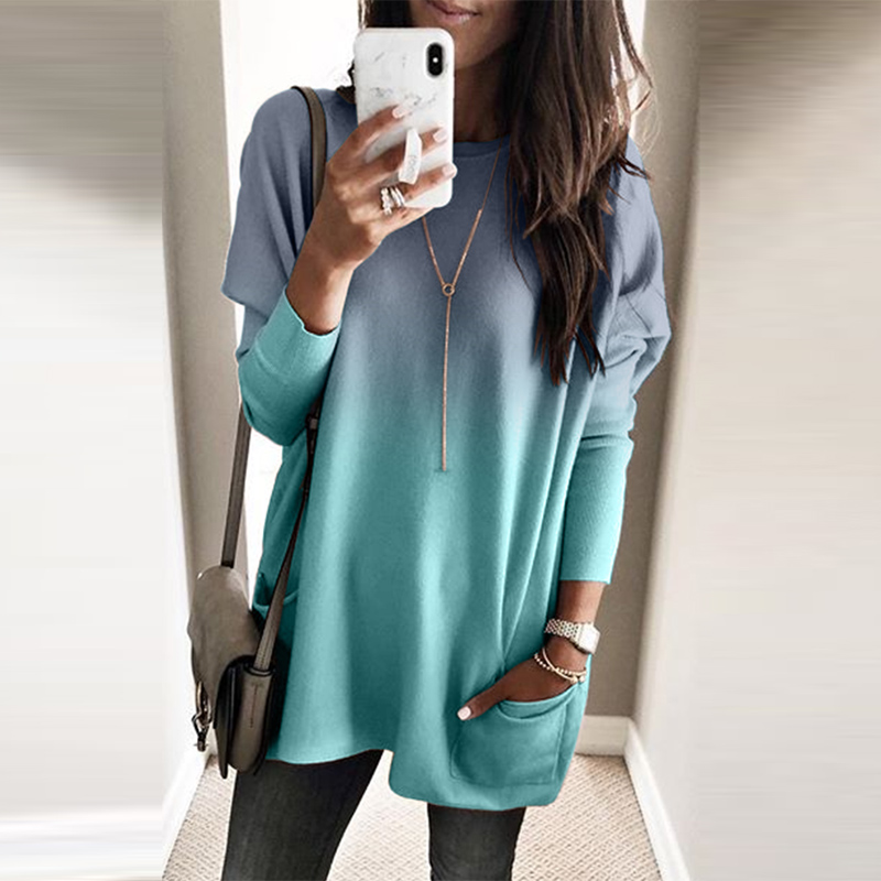 High Quality Wholesale Ladies Color Block Pocketed Side Long Top