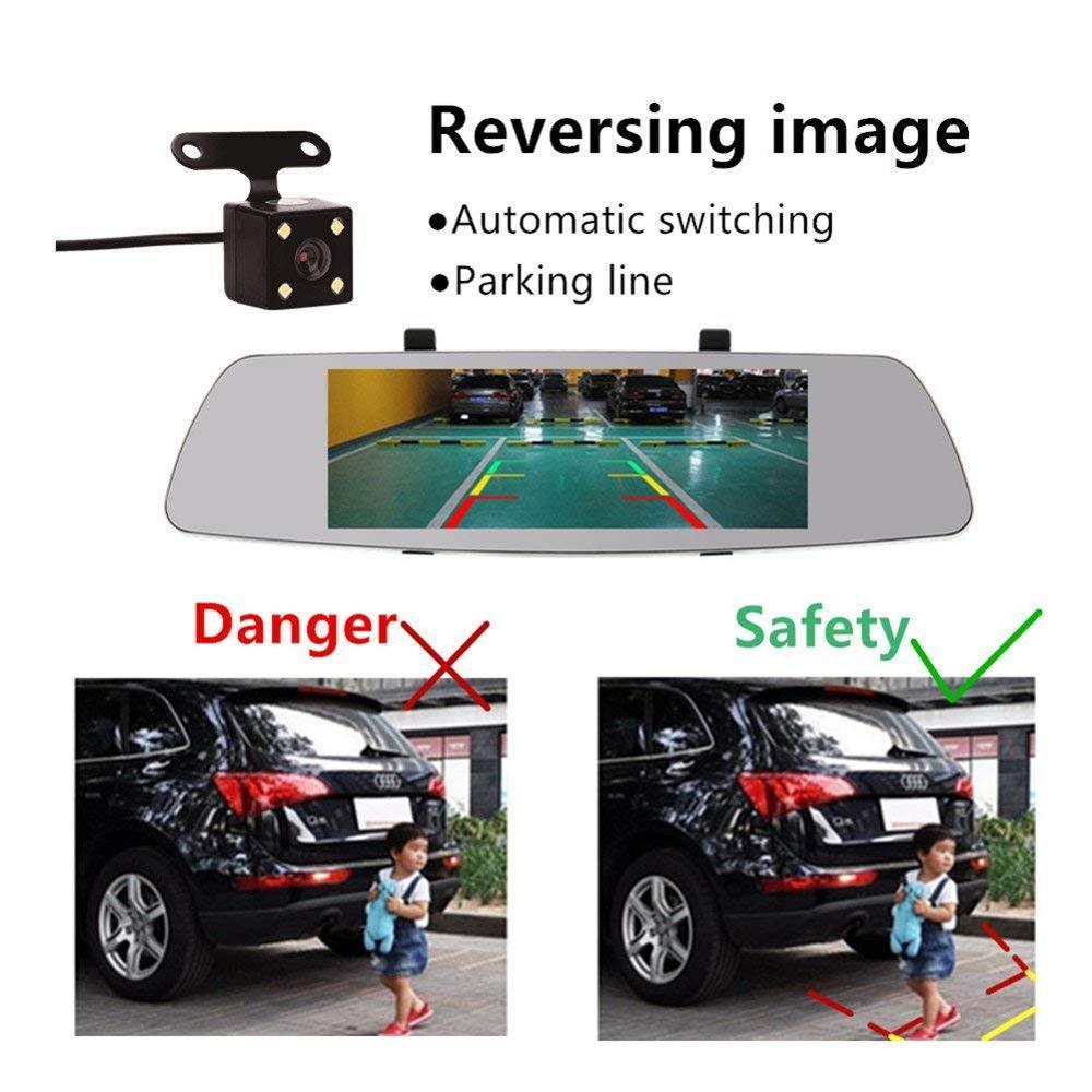"""Gương Chiếu Hậu Xe Máy 7 """"Dash Car DVR Cam Phía Trước Và Phía Sau Ống Kính Kép Tầm Nhìn Ban Đêm Với 7 Inch màn Hình Cảm Ứng"""
