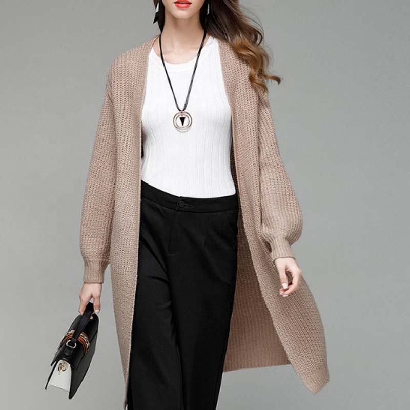 Wanita panjang knit cardigan sweater