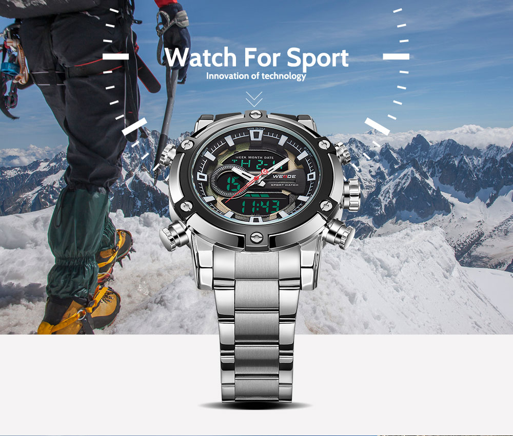 WEIDE New WH9603 Men Watches Dual Time Clock LCD Analog Stainless Steel Classic ODM Watches  Quartz Digital Watch