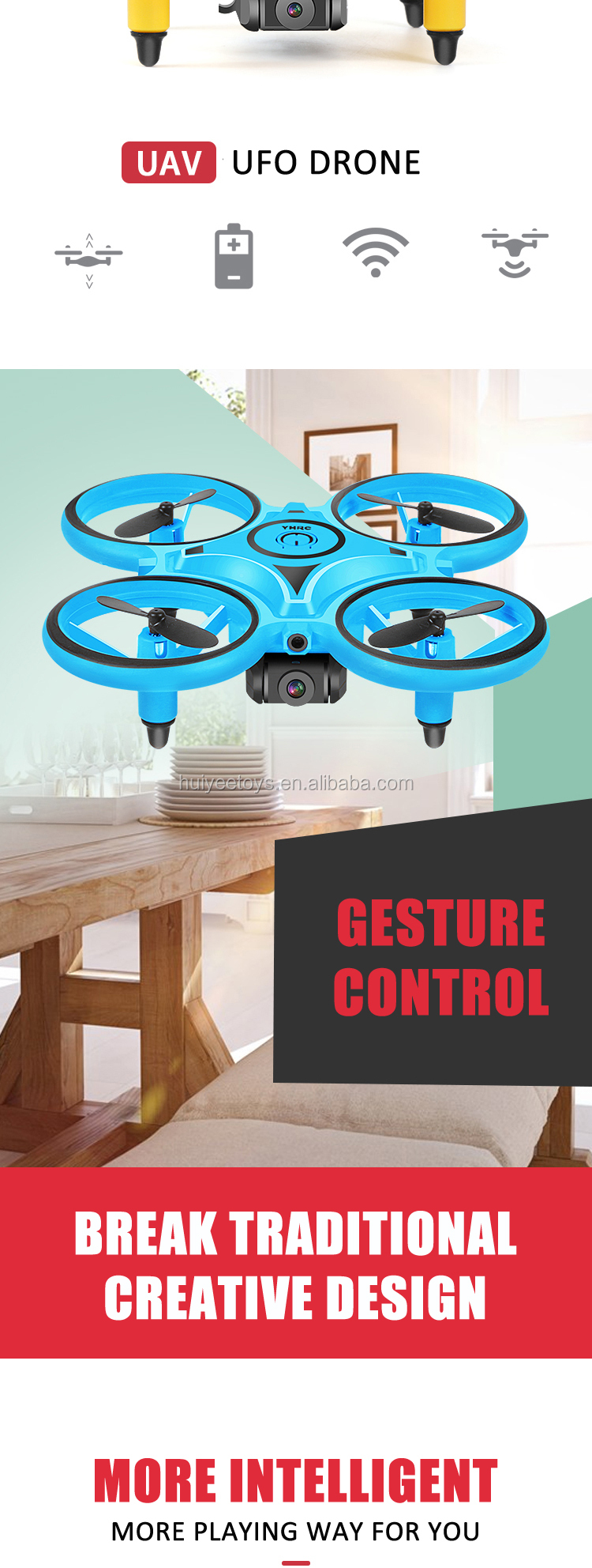 2020 Newest 3-In-1 RC Induction Hand Watch Gesture Control Mini UFO Quadcopter Drone With Camera And Led Light Levitation Toys