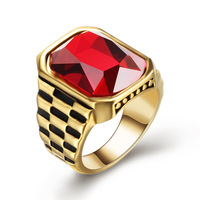 DAICY jewelry high quality large hiphop men's gold ruby cz ring