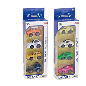 4PCS cute mini friction alloy pull back car diecast model car with action