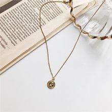 Модное ожерелье из золотых монет, женские ретро буквы, подвеска, цепочка до ключиц, геометрическое ожерелье, ювелирные изделия, аксессуары(Китай)