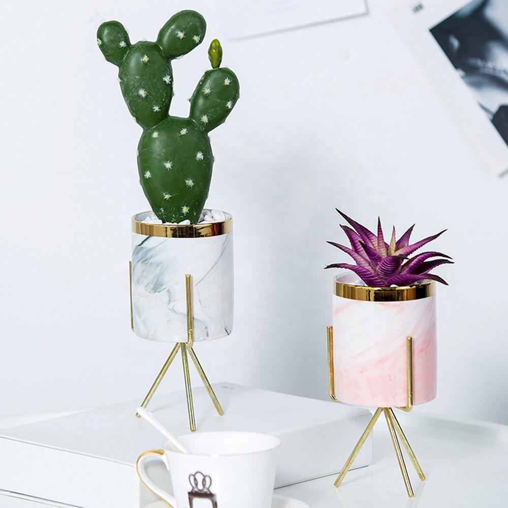 Sevimli toplu etli masa standı kapalı ucuz yapay altın küçük toptan kaktüs bitki ve yetiştiricilerinin Mini seramik çiçek saksıları