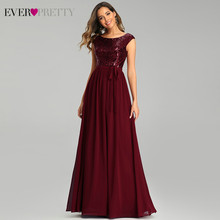 Бордовые вечерние платья Ever Pretty EP00659BD, а-силуэта, с круглым вырезом, без рукавов, с бантом, с поясом, блестками, сексуальная Вечерние платья 2020(Китай)