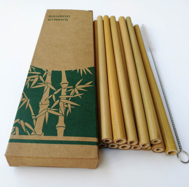 Customized 12pcs organic bamboo straws biodegradable straws bamboo drinking straws