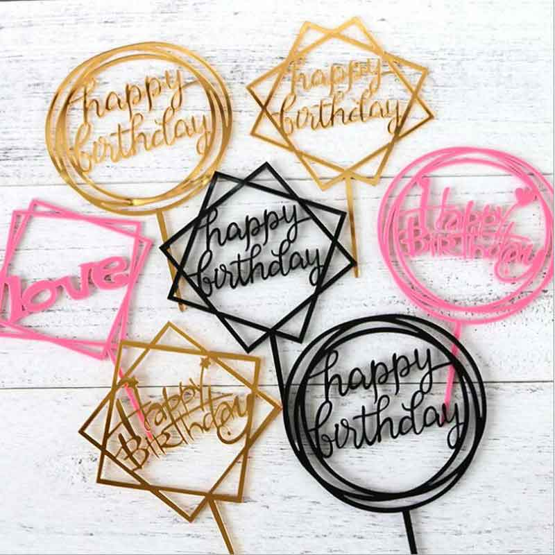 Happy Birthday <strong>Cake</strong> Topper Supplies Acrylic Baking <strong>Cake</strong> Insert Decor Cupcake <strong>wedding</strong> Birthday Party Decoration <strong>Cake</strong> Top Flag