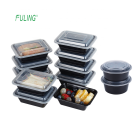 heavy black base plastic pp reusable lunch boxes food storage bento single 1 compartment meal prep containers with lids