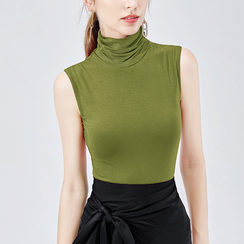 Cheap wholesale new fashion high collar vest female casual green sleeveless top