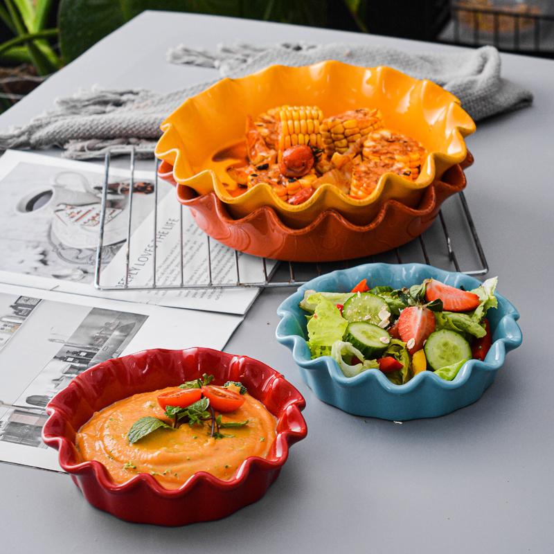 Atacado elegante casa utensílios de cozinha redonda profunda cozimento antiaderente bakeware cerâmica