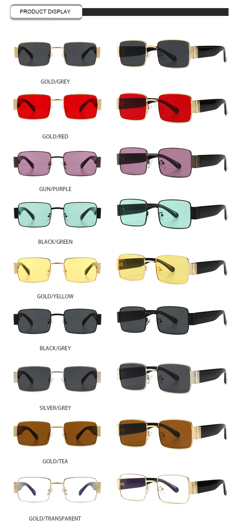 Customized Logo Bifocal Ray Band Color Lens Women Square Sunglasses Men