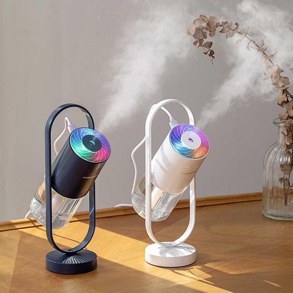 2019 Innovations <strong>Portable</strong> Air <strong>Humidifier</strong> Small Projection Free Rotation <strong>Humidifier</strong> with LED Color Light