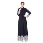 Latest Designs Malaysia Women Islamic Clothing Chiffon Lace Muslim Open Front Kimono Abaya