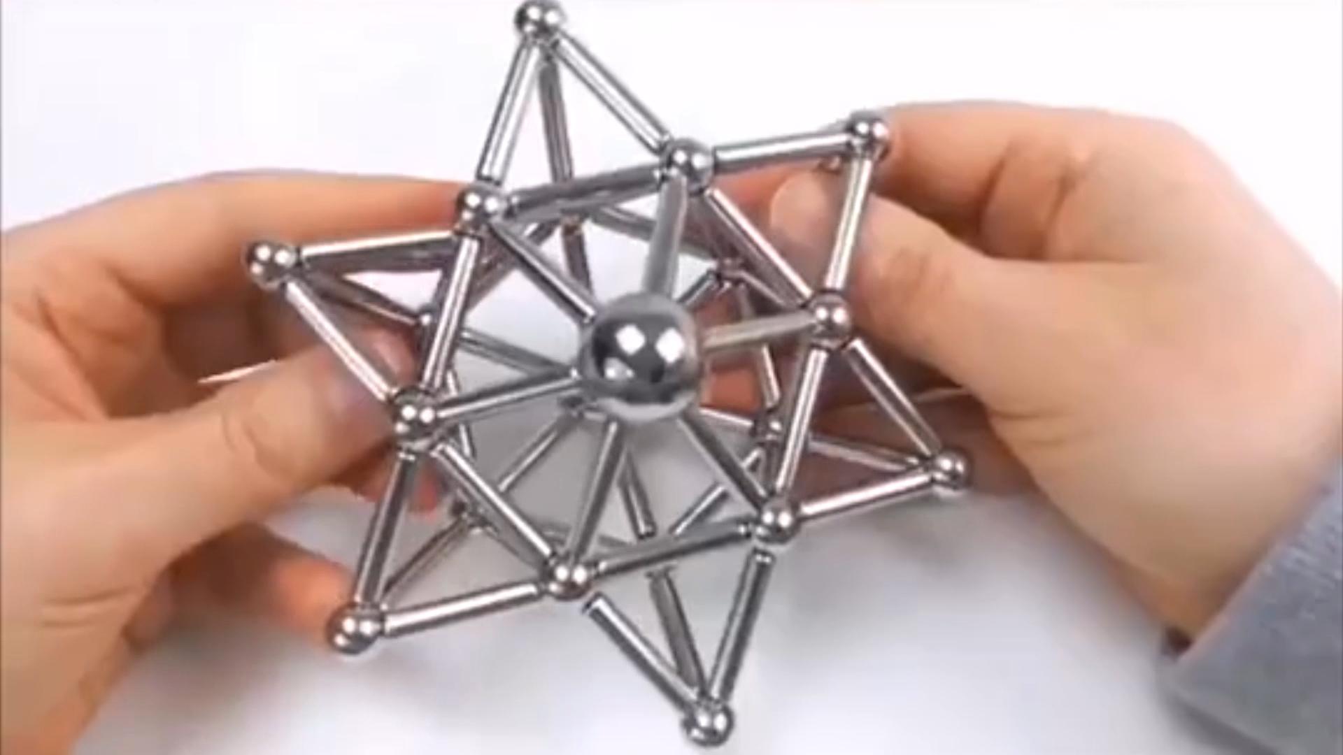 ของเล่นเด็กMagnetic BLOCK 63pcs Silver Magnetic Stickและลูกบอล