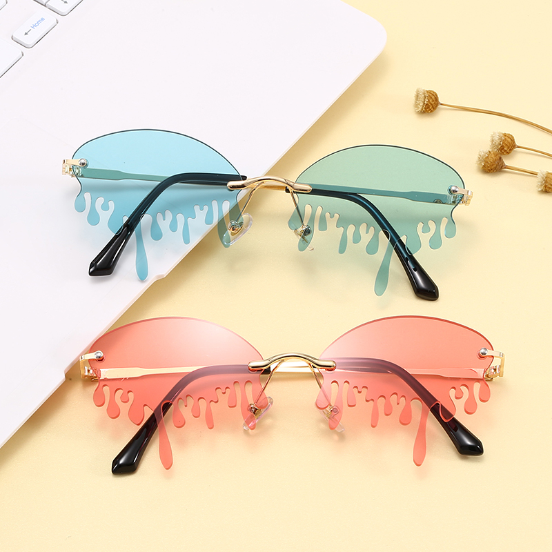 Super hot Eyewear Fashion 2020 Rimless Tinted Fire Dripping Shape Women Ladies Sunglasses