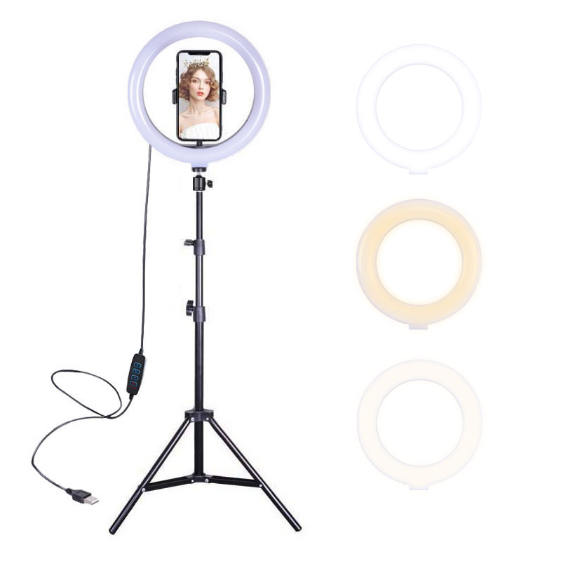 10 inch 10W LED Ring Light Kit Dimmable Camera Video Portrait Movie Selfie Live Photography Fill Light with Light Stand