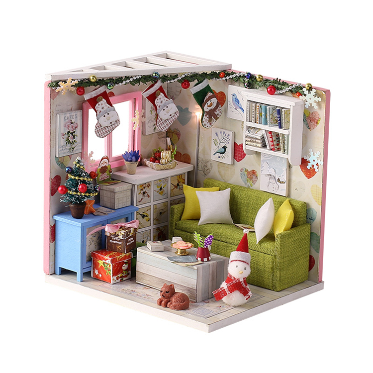 Doll house model toys role play elegant house  furnishing Leisure rest Times room educational toys Christmas not include glue