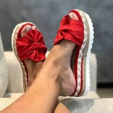 2020 летние модные сандалии, обувь, женские летние сандалии с бантом, тапочки, уличные шлепанцы, Пляжная женская обувь, Тапочки(Китай)