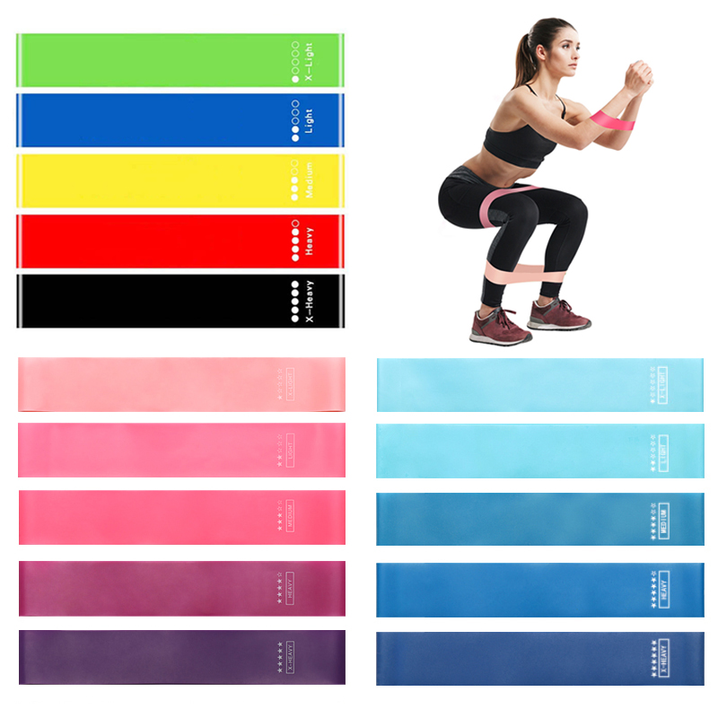 Sport Gym Equipment Workout Training Pull Expander Crossfit Pilates Elastic Bands Exercise Fitness Gum Rubber Resistance Bands, Blue as picture