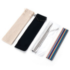 Amazon Top Seller 2020 Reusable Metal Drinking Stainless Steel Straws With Customized Color Logo Packing