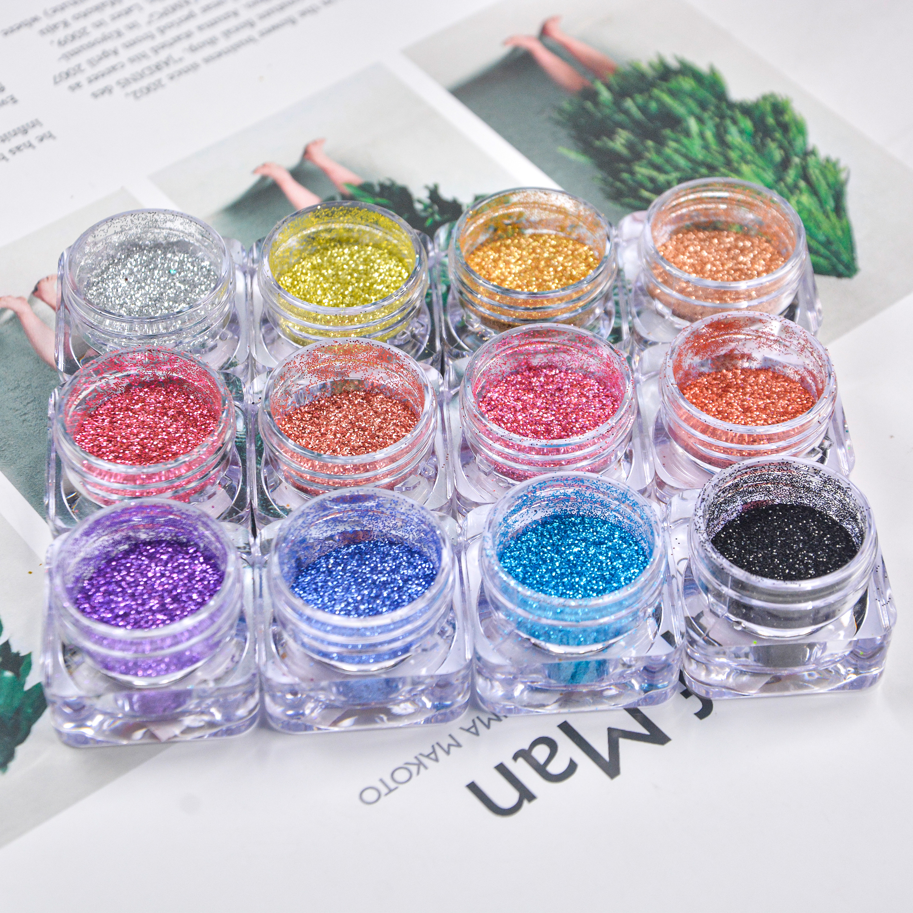 "1/128"" Laser Colorful Holographic Eco-Friendly Fine Biodegradable Glitter for makeup"