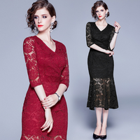 New Arrival European Autumn Spring Clothes Vintage Half Sleeve Dresses Hollow Out Women Party Lace Dress