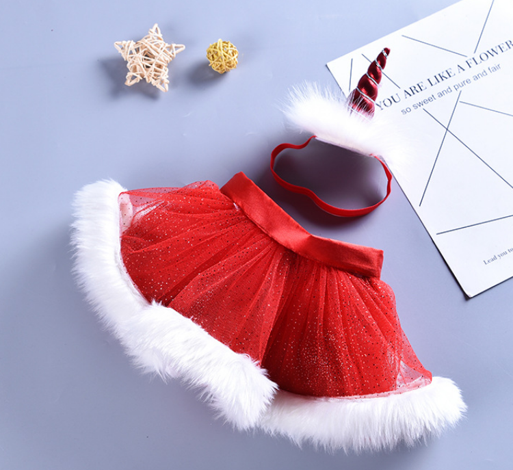 Baby Girls Santa Layered Tulle Tutu Skirt