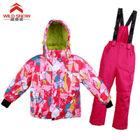 WILD SNOW children Waterproof Ski Jacket Hooded Windbreaker Fleece Lined Winter Coat