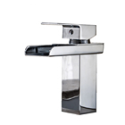 Bathroom Waterfall Led Faucet. Glass Waterfall Brass Basin Faucet. Bathroom Mixer Tap Deck Mounted basin sin Torneira Cozinha