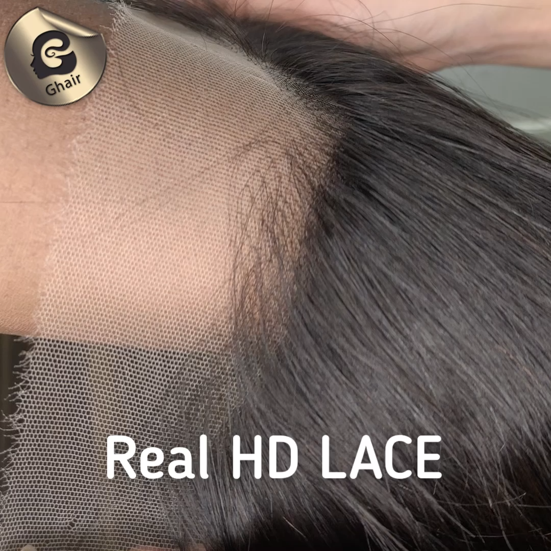 Invisible real HD film thinnest swiss transparent lace frontal 13*4 ear to ear pre plucked frontal body wave