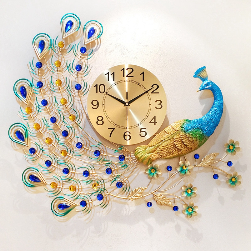 Wholesale Colorful Large Size Peacock Clock Furniture Decoration Wall