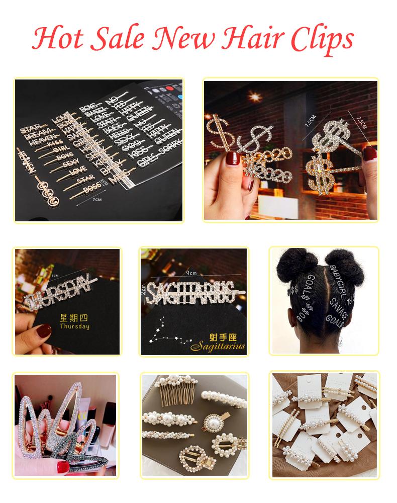 卸売ファッションかわいいヘアピンメーカー真珠セットガールヘアクリップ金属