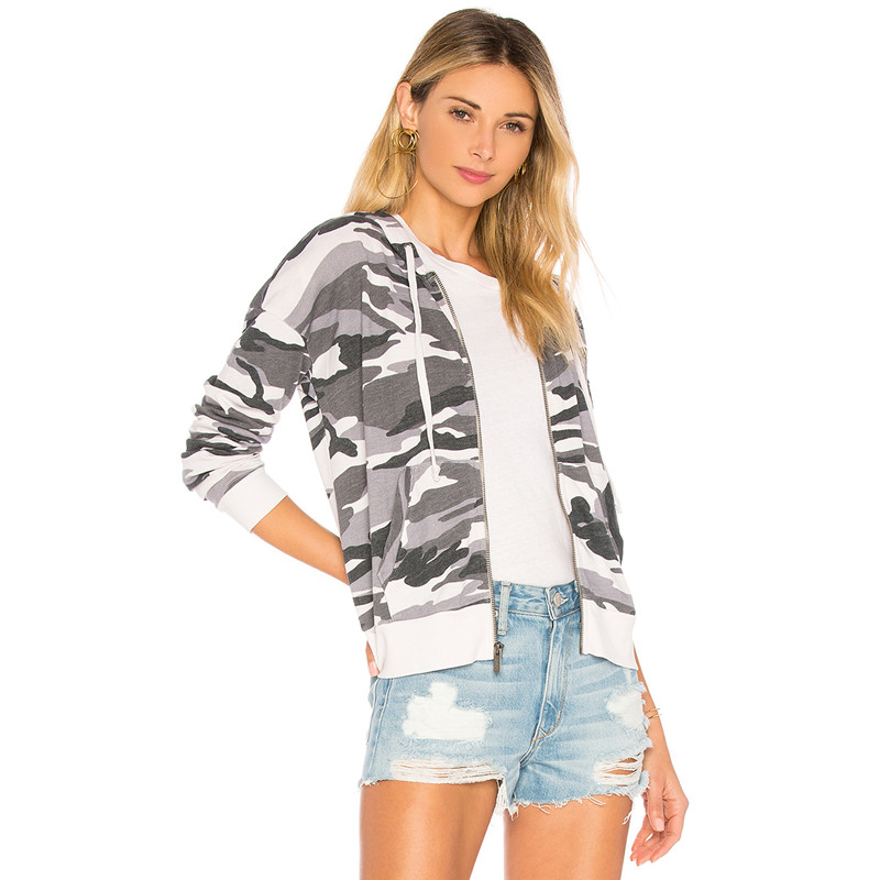 Hot Sell 100% Pima Cotton Long Sleeve Front Zipper Women Casual Camo Hoodie