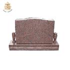 Simple design india red granite carving headstone tombstone NTGT-013L