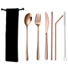 6pc rose gold cutlery & black bag