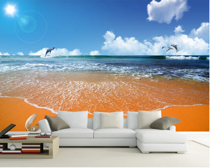The sea and the skies beach living room wall background