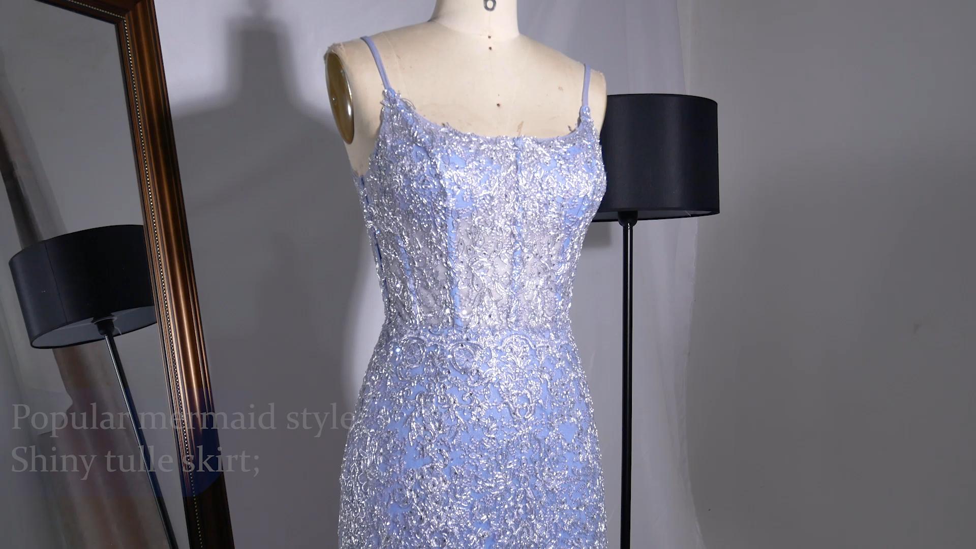 Chaozhou supplier spaghetti strap handmade embroidery  beaded mermaid purple long evening dresses