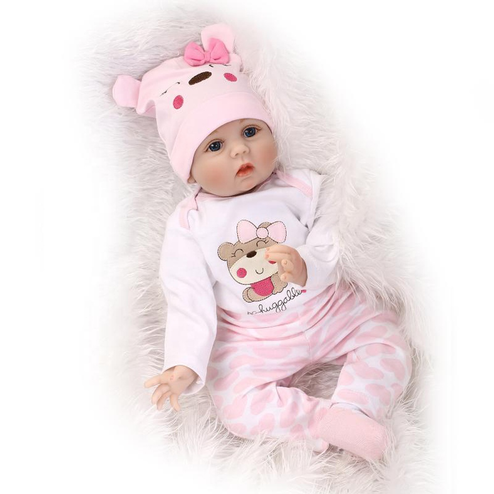 China Wholesale 22&quot;/55cm Lifelike Handmade Alive Soft Silicone Reborn <strong>Doll</strong> with Bottle