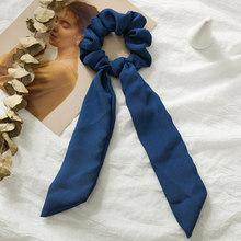 Однотонные женские Сатиновые резинки для волос, эластичные резинки для волос, бантик, шарф для волос, для девочек, веревка, резинки, простые ...(Китай)