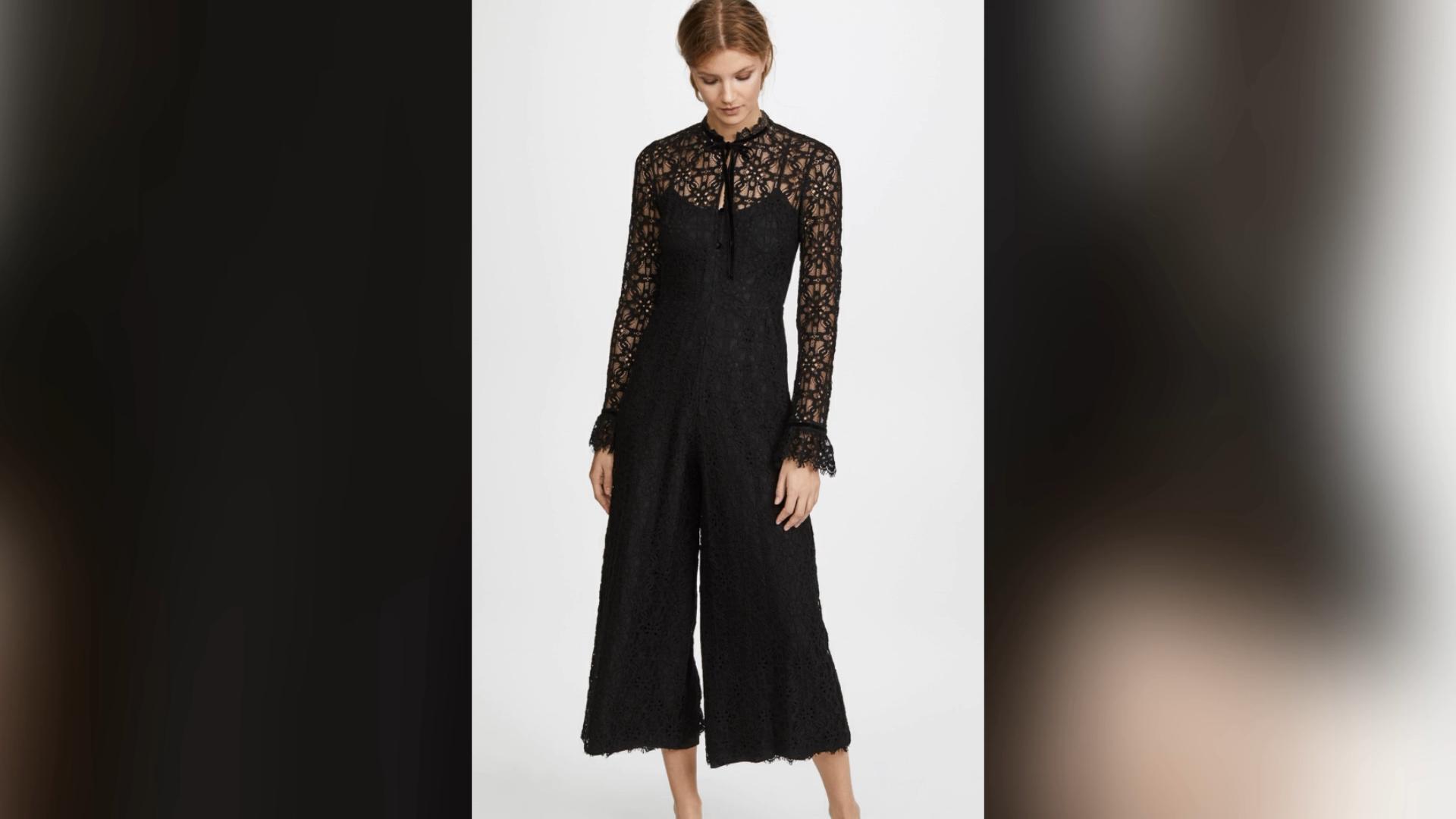 Fall clothing women romper black lace long sleeve casual women long wide leg ladies jumpsuits