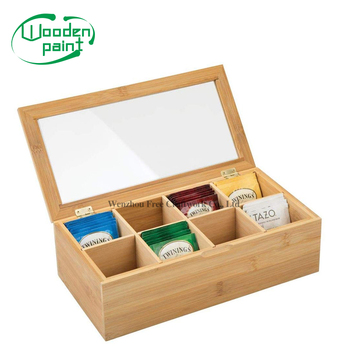 Wooden natural bamboo tea bags packing box wooden tea coffee storage box reusable packaging box