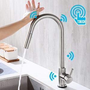 304 stainless steel touch on kitchen sink sensor faucet with Pull Down Sprayer Automatic Motion Sensor tap