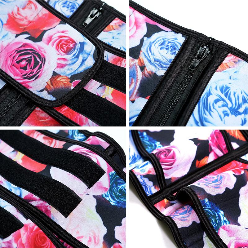 Wholesale floral printed private label corset shaper sweat belt plus size women waist trainer