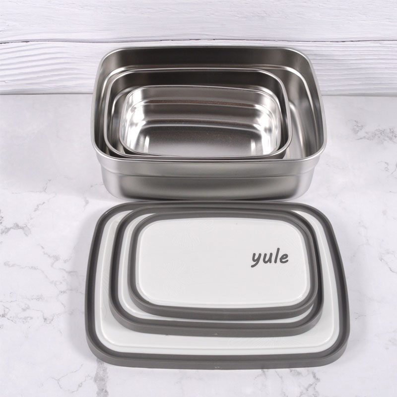 Factory outlet set of 3 Stainless Steel Wholesale Rectangle lunch box With transparent Lid