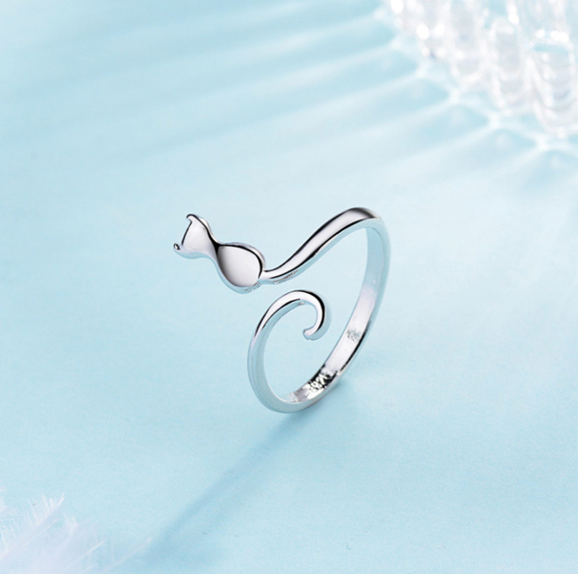 Women Finger Jewelry Adjustable Silver Plating Opening Cuff Animal Cat Ring For Women Girls
