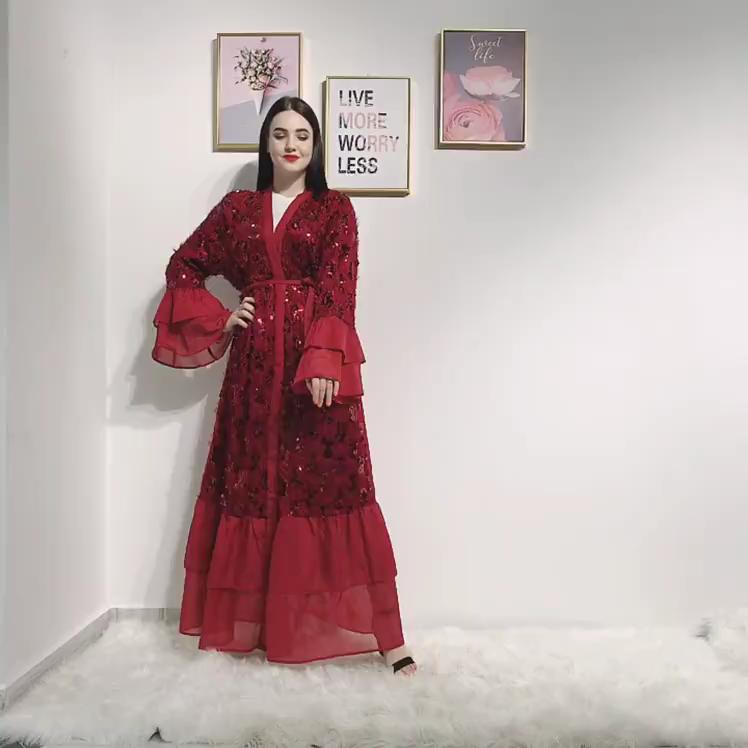 2020 ファッションドバイスパンコール女性の高級イスラム教徒マキシカフタンabayasオープンフロントアラブ七面鳥アバヤドレスイスラム服