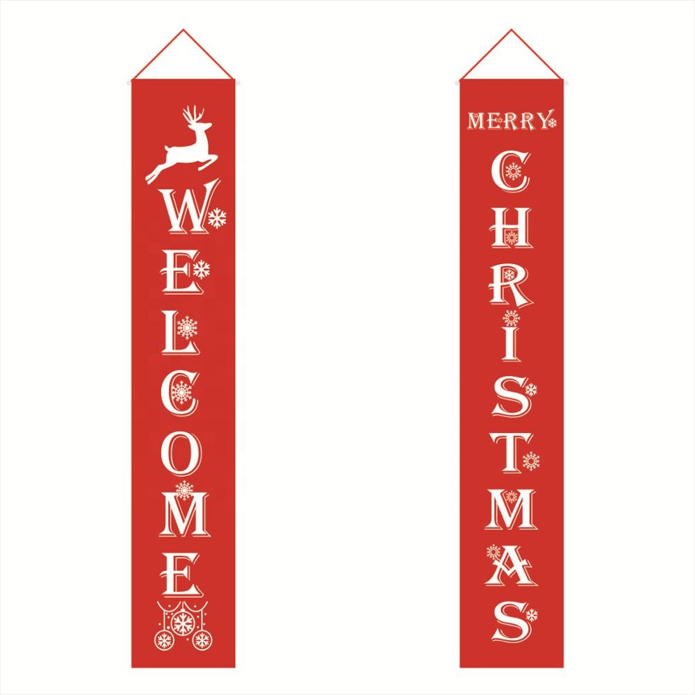 Merry Christmas <strong>Banner</strong> Outdoor Indoor Decorations Welcome Christmas Porch Sign Red Xmas Decor Hanging <strong>Banner</strong> for Home Wall Door