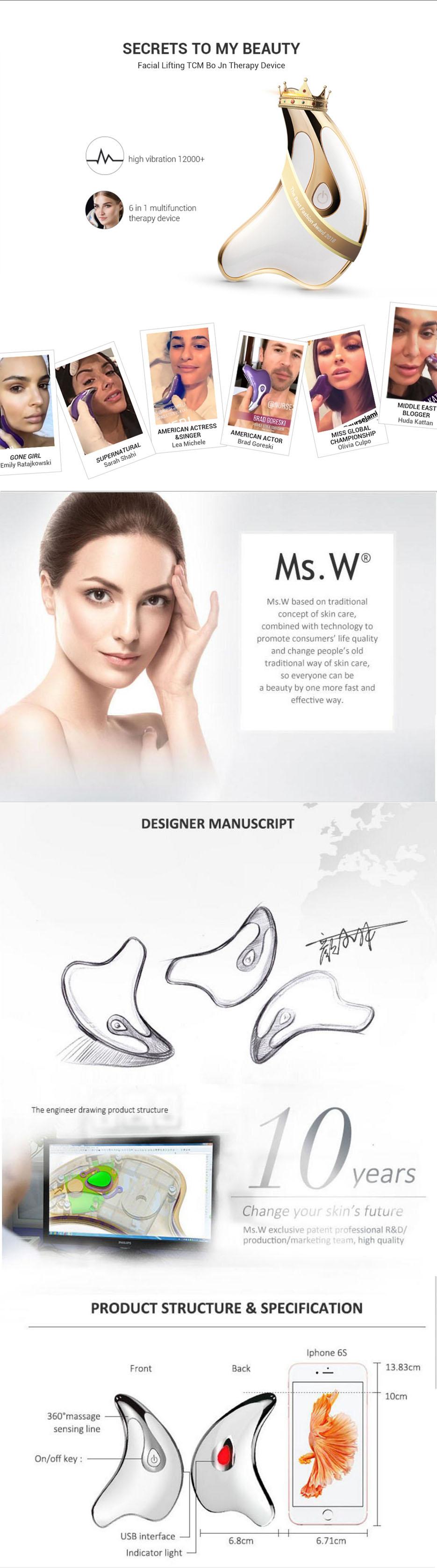 Ms.w世界ベストセラー製品アンチエイジングフェイススクラブインスタントフェイスリフトスキンライトニング