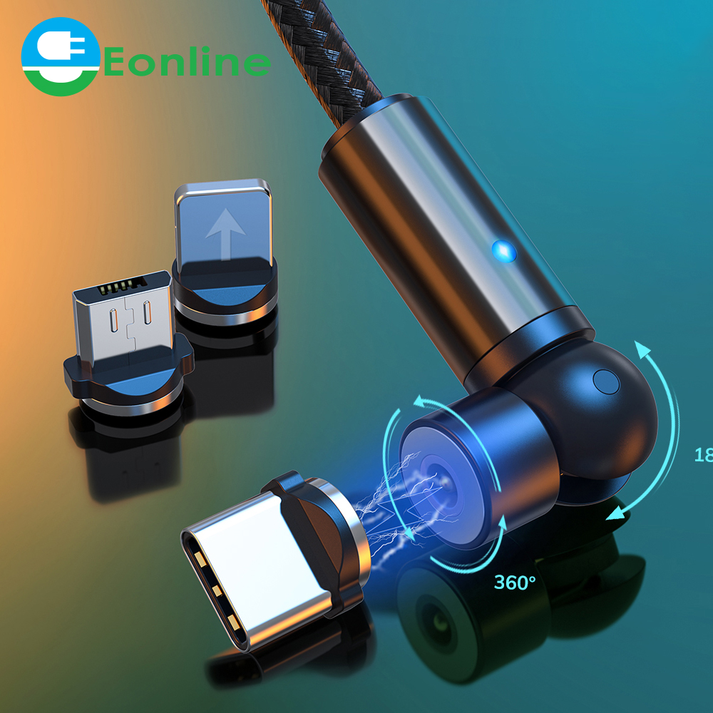 Eonline 540 Rotate magnetic Charger usb cable Type C Micro USB C 8 Pin Charging for 8-pin android magnetic Cable Charge Cord